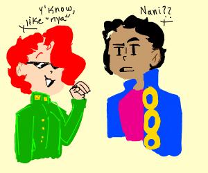 """""""nya"""" says red hair. """"nani?"""" says black hair."""