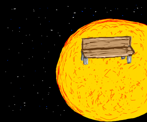 park bench on the sun in space
