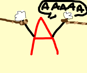 Letter A captured in ropes
