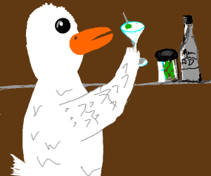 Duck drinks a cocktail