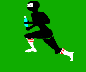 Ninja running in knee high socks.