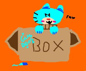 Gumballs climbing out of cardboard box