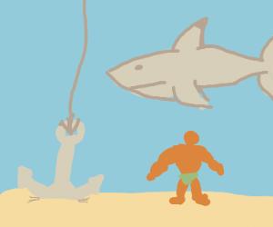 Shark, anchor, buff man