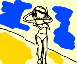 Girl adjusting her weave at the beach