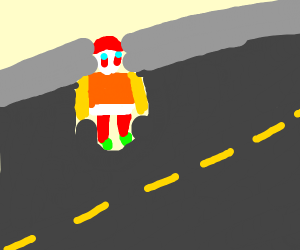 Clown crossing the Highway