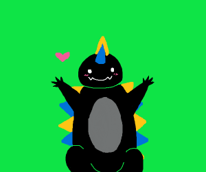 cute black godzilla w/ blue & yellow spikes
