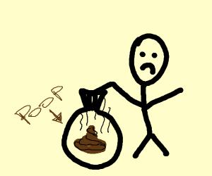 Sad guy holding a bag of poop