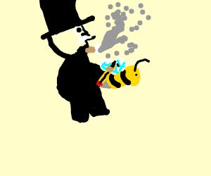 Monopoly Man smoking and drawing on drawing b