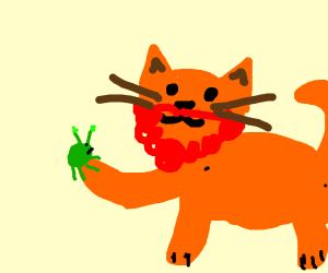 Gingerbeard cat holding bug