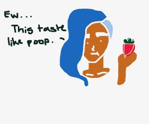blue long hair girl eating poop-flavoredfruit
