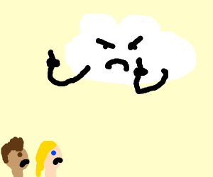 a cloud flips people off