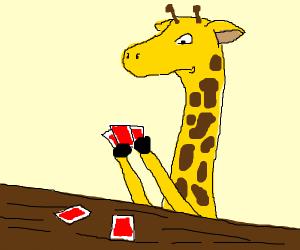 giraffe plays cards