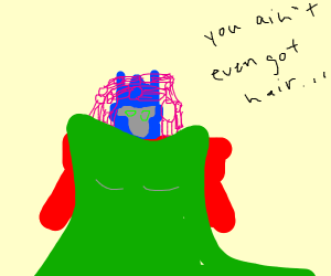 Optimus Prime in a dress and hair curlers