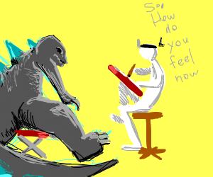 Godzilla seeking counselling