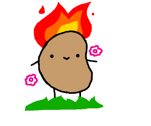 Happy Potato on fire