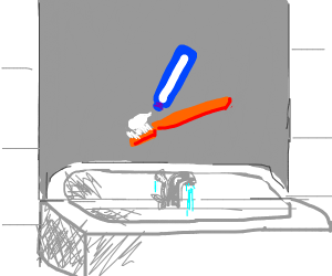 Squeezing toothpaste on toothbrush