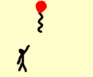 a stickman losing its balloon