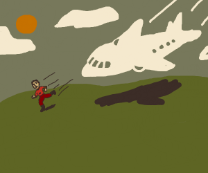 man running from a plane