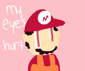 mario with long eyes