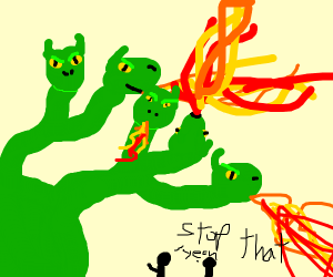 humans angry at a hydra spurting out flames