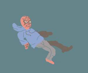 Spiderman in a hoodie and jeans