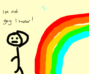 Man confused by a rainbow