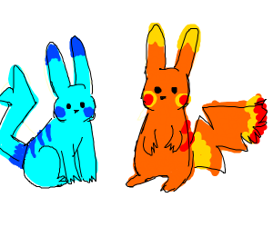 Water and fire type pikachus