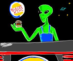 An alien working on burger king