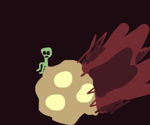 Alien alone on meteor