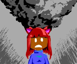girl w/fox ears smokes