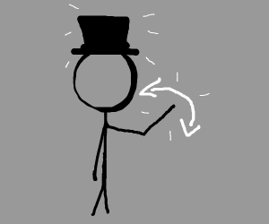Stick man with a hat waves hi