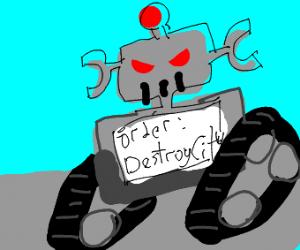 robot destroys city