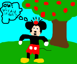 Mickie mouse discovers gravity