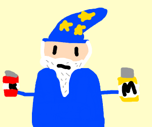 Wizard wielding ketchup and mustard