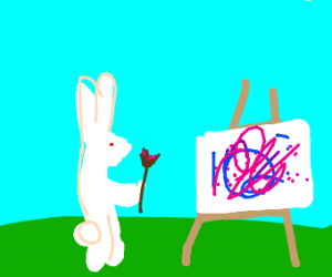bunny painting on easel