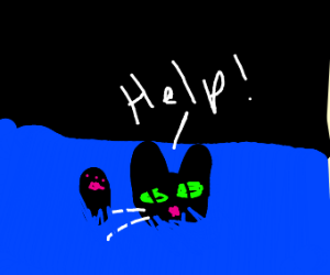 cat drowning and crying for help