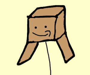 Cardboard box head person