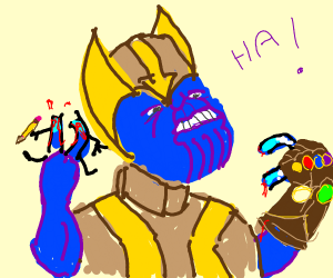 thanos snaps drawception