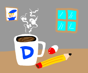 Coffee, pencil, and a pill