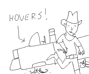 Cowboy with hover car