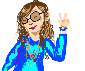 Cute curly-haired hippie in shiny blue dress