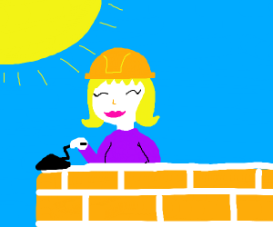 Blonde lady building a house