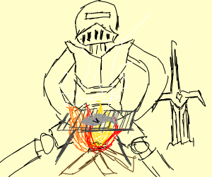 knight roasts food over fire