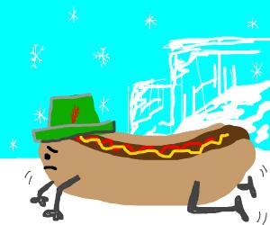 hotdog w/ legs + hat crawls across arctic