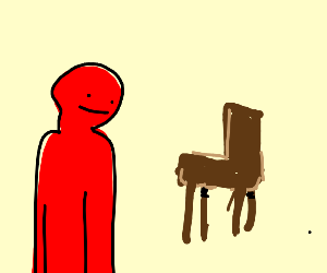 Red man near a chair
