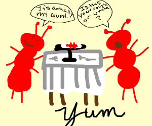 2 ants eating another ant