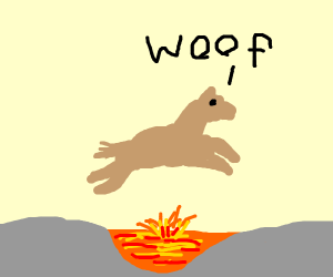 dog jumps over lava