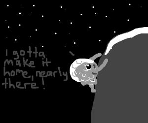 moon struggling to climb a cliff
