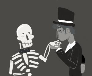 Skeleton offers her hand, gentleman kisses it