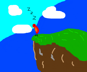 Bird sleeping on the side of a cliff